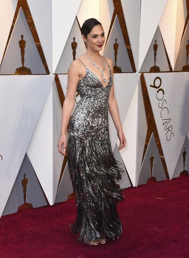 Gal Gadot arrives at the Oscars on Sunday, March 4, 2018, at the Dolby Theatre in Los Angeles. (Photo by Jordan Strauss/Invision/AP)
