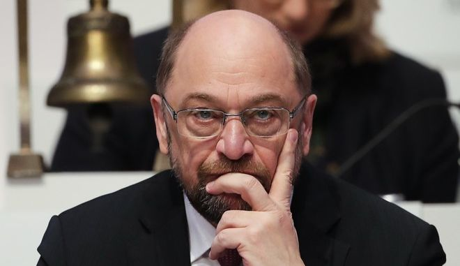 Social Democratic Party, SPD chairman Martin Schulz attends the second day of the party's convention in Berlin, Friday, Dec. 8, 2017. (AP Photo/Markus Schreiber)