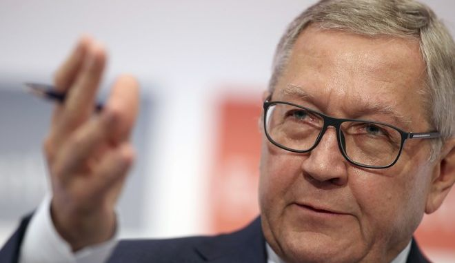 Managing Director of the European Stability Mechanism Klaus Regling speaks during an Economic conference in Lagonisi near Athens, Thursday, June 29, 2017. Greece is eyeing a return to international bond markets for the second time since the country lost access in 2010 and had to seek successive bailouts from other eurozone countries and the International Monetary Fund..(AP Photo/Petros Giannakouris)
