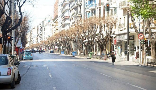 Δρόμος της Θεσσαλονίκης εν μέσω πανδημίας του κορονοϊού