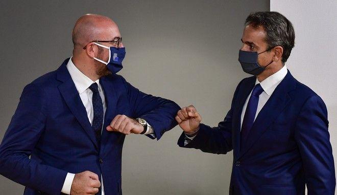 Ο Πρωθυπουργός Κυριάκος Μητσοτάκης και ο  Πρόεδρος του Ευρωπαϊκού Συμβουλίου, Σαρλ Μισέλ στις Βρυξέλλες για την Ειδική Σύνοδο του Ευρωπαϊκού Συμβουλίου