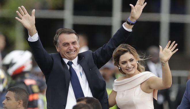 Ο Βραζιλιάνος πρόεδρος Ζαΐχ Μπολσονάρο με την σύζυγό του Μισέλ
