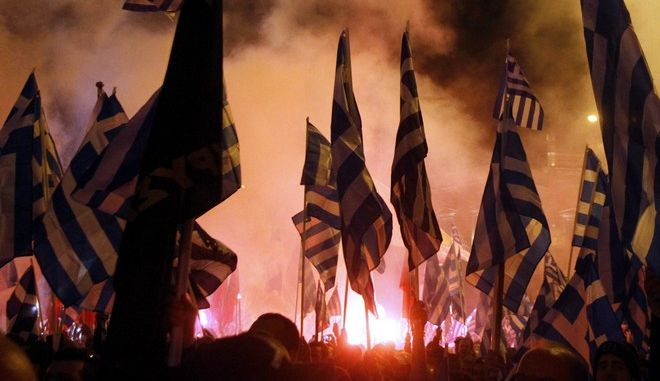 """Συγκέντρωση για την επέτειο των Ιμίων, μπροστά στο μνημείο των Ιμίων, στη διασταύρωση των οδών Βασ. Σοφίας και Ρηγίλλης το Σάββατο 2 Φεβροαυαρίου 2013.  Τη συγκέντρωση πραγματοποίησε η Επιτροπή Εθνικής Μνήμης και στην οποία συετείχε το κόμμα της """"Χρυσής Αυγής"""". (EUROKINISSI/ΓΙΩΡΓΟΣ ΚΟΝΤΑΡΙΝΗΣ)"""