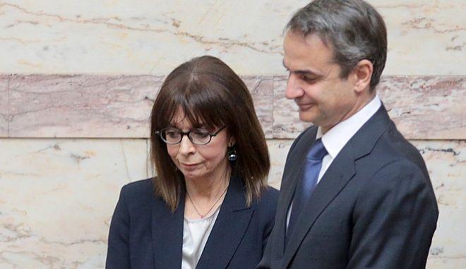Η Πρόεδρος της Δημοκρατίας, Κατερίνα Σακελλαροπούλου και ο Πρωθυπουργός, Κυριάκος Μητσοτάκης