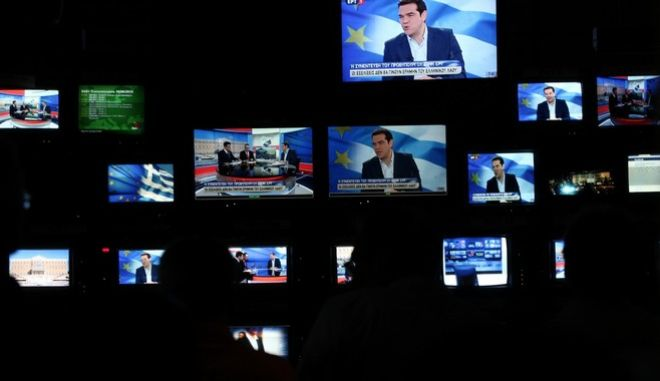 Interview of Greece's Prime Minister Alexis Tsipras on the referendum held on July 5, in state broadcaster ERT, in Agia Paraskevi, Athens on June 29, 2015. /           5 ,    ,  ,   29  2015.