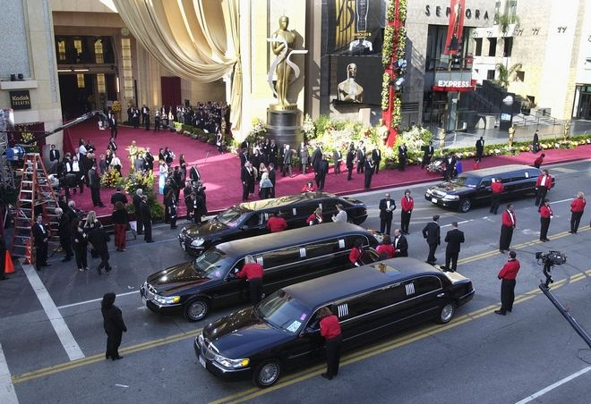 Limousines line up three abreast as celebrities begin to arrive for the 75th annual Academy Awards on Sunday, March 23, 2003, in Los Angeles. (AP Photo/Amy Sancetta)