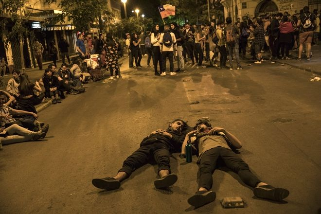 Διαδηλωτές στο Σαντιάγο, Χιλή