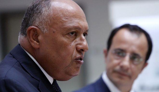 Ο Υπουργός Εξωτερικών της Αιγύπτου Sameh Shoukry, και στο βάθος ο Κύπριος ομόλογός του Νίκος Χριστουδουλίδης