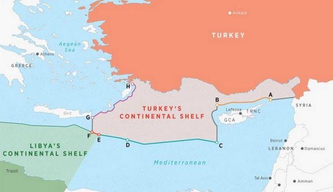 Ο Χάρτης που κατατέθηκε σύμφωνα με το πρακτορείο Anadolu