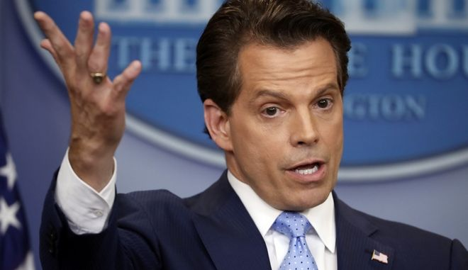 White House communications director Anthony Scaramucci gestures as he answers questions during the press briefing in the Brady Press Briefing room of the White House in Washington, Friday, July 21, 2017. (AP Photo/Pablo Martinez Monsivais)