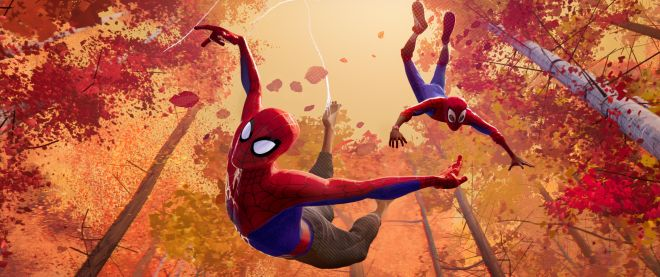 Peter Parker and Miles Morales in Sony Pictures Animation's SPIDER-MAN: INTO THE SPIDER-VERSE.