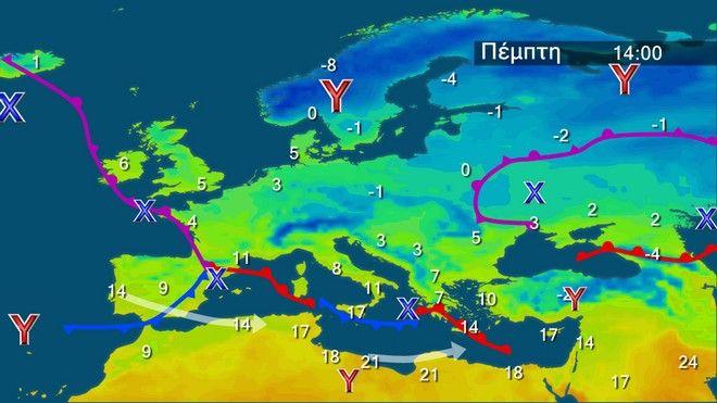 Οι θερμοκρασίες στην Ευρώπη την Πέμπτη