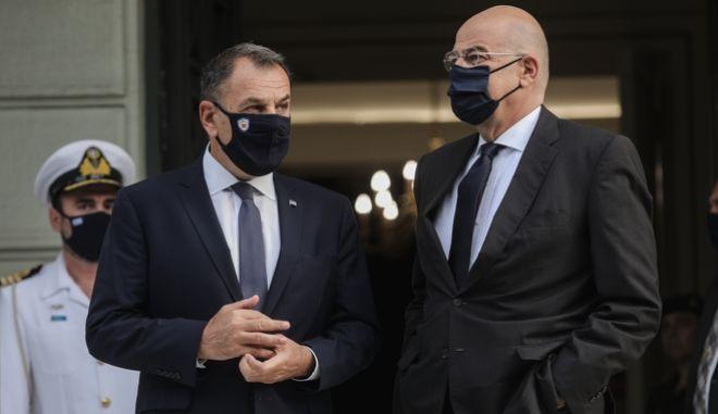 Οι υπουργοί Άμυνας και Εξωτερικών, Νίκος Παναγιωτόπουλος και Νίκος Δένδιας
