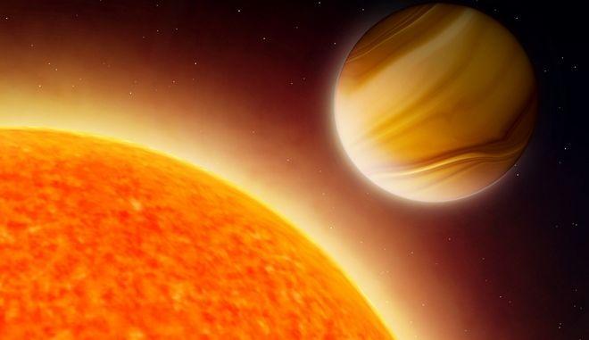 Καλλιτεχνική απεικόνιση εξωπλανήτη και άστρου