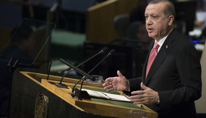 President Recep Tayyip Erdogan of Turkey addresses the United Nations General Assembly, at U.N. headquarters, Tuesday, Sept. 19, 2017. . (AP Photo/Mary Altaffer)