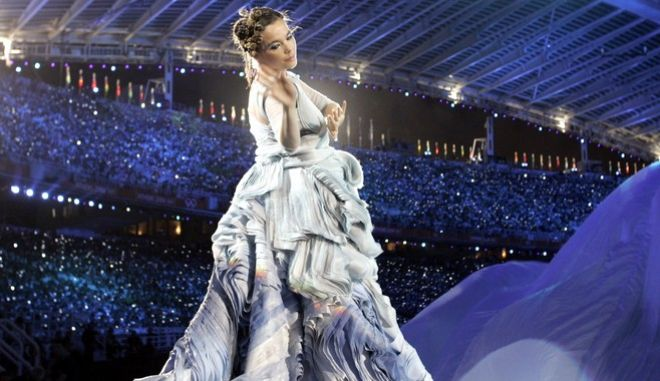 Singer Bjork, of Iceland, performs during the Opening Ceremony of the 2004 Olympic Games in Athens, Friday, Aug. 13, 2004. (AP Photo/Mark Baker)