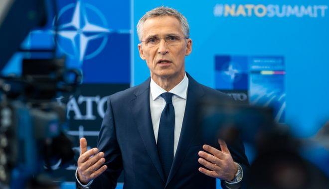 Ο Γενικός Γραμματέας του ΝΑΤΟ Γενς Στόλτενμπεργκ στη Σύνοδο Κορυφής του ΝΑΤΟ στις Βρυξέλλες την Τετάρτη 11 Ιουλίου 2018. (EUROKINISSI/NATO)