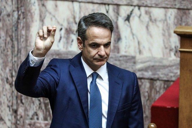 Ο Κυριάκος Μητσοτάκης κατά την ορκωμοσία της νέας Βουλής