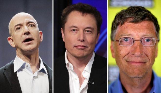 Ο Jeff Bezos, ο Elon Musk και ο Bill Gates