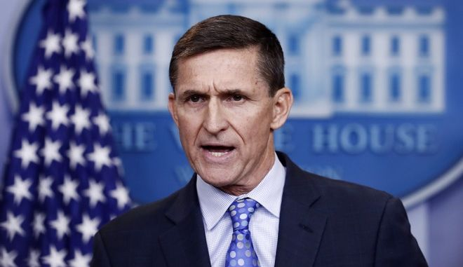 """National Security Adviser Michael Flynn speaks during the daily news briefing at the White House, in Washington, Wednesday, Feb. 1, 2017. Flynn said the administration is putting Iran """"on notice"""" after it tested a ballistic missile. (AP Photo/Carolyn Kaster)"""