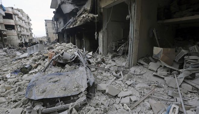 Περιοχή στο Ιντλίμπ της Συρίας μετά από αεροπορική επιδρομή