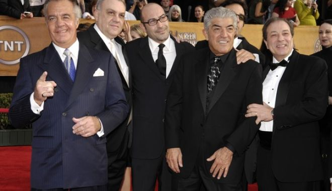 "FILE - In this Jan. 28, 2007 file photo, Tony Sirico, left, Vincent Curatola, second from left, John Ventimiglia, center, Frank Vincent, third from right, Robert Funaro, second from right, and Dan Grimaldi, from television's ""The Sopranos,"" arrive at the 13th Annual Screen Actors Guild Awards in Los Angeles. Vincent, a veteran character actor who often played tough guys including mob boss Phil Leotardo on ""The Sopranos,"" has died. He was 80. (AP Photo/Chris Pizzello, File)"