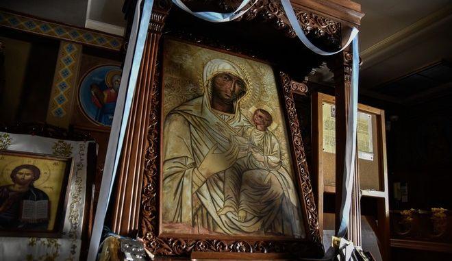 Η θαυματουργή εικόνα της Παναγίας της Πρεβεζάνας βρίσκεται στην καθολική Εκκλησία του Αγίου Νικολάου στο Αργοστόλι Κεφαλονιάς