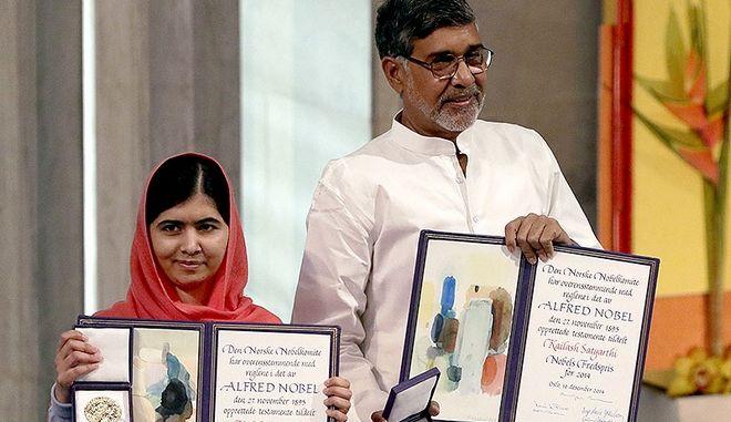 Νόμπελ Ειρήνης: Ολοκληρώθηκε η τελετή απονομής στην Μαλάλα και τον Καϊλάς Σατιάρτι