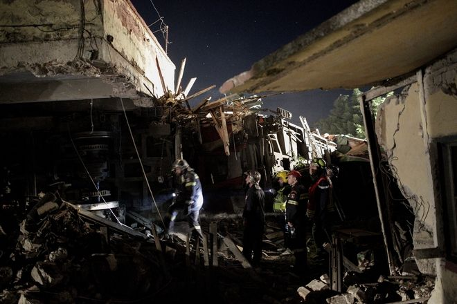 Train accident at Adendro, almost 40km west of Thessaloniki, with two confirmed dead among the passengers, Greece on May 13, 2017. The train crashed into a house after derailing. /    , 40    ,    ,  13  2017.       .