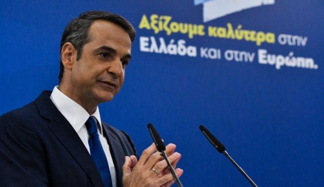 Ο πρόεδρος της ΝΔ, Κ. Μητσοτάκης, στη διακαναλική συνέντευξη Τύπου που παραχώρησε ενόψει ευρωεκλογών