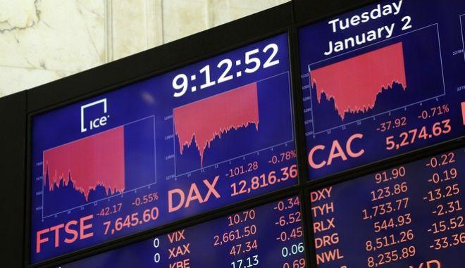 Με πτώση έκλεισαν τα ευρωπαϊκά χρηματιστήρια (AP Photo/Mark Lennihan)