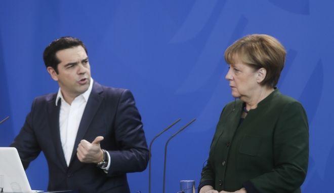 Κοινή συνέντευξη Τύπου του πρωθυπουργού Αλέξη Τσίπρα και της Γερμανίδας καγκελαρίου Άνγκελα Μέρκελ