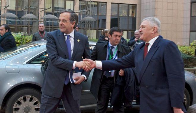 Ο πρωθυπουργός Αντ. Σαμαράς προσέρχεται στη Σύνοδο Κορυφής του Ευρωπαϊκού Συμβουλίου στις Βρυξέλλες, την Πέμπτη 19 Δεκεμβρίου 2013. (EUROKINISSI/ΣΥΜΒΟΥΛΙΟ ΤΗΣ Ε.Ε.)