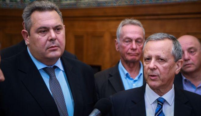 Συνάντηση του προέδρου των ΑΝΕΛ, Πάνου Καμμένου με τον Τάκη Μπαλτάκο, στην Βουλή.