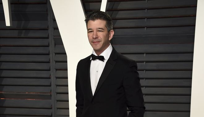 Uber CEO Travis Kalanick arrives at the Vanity Fair Oscar Party on Sunday, Feb. 26, 2017, in Beverly Hills, Calif. (Photo by Evan Agostini/Invision/AP)