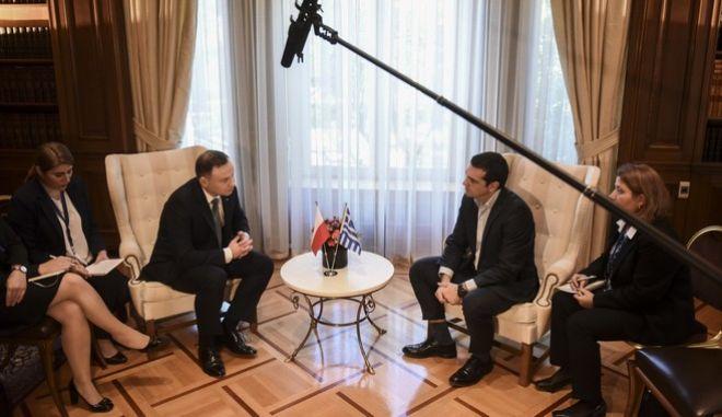 Συνάντηση του Πρωθυπουργού Αλέξη Τσίπρα με τον Πρόεδρο της Πολωνίας Αντρέι Ντούντα σήμερα, Δευτέρα 20 Νοεμβρίου 2017. (EUROKINISSI / Τατιάνα Μπόλαρη)