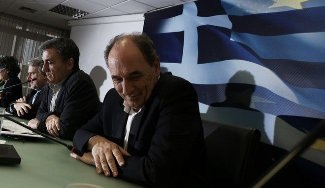 Joint press conference by the Financial Minister Euclid Tsakalotos, Economy Minister Giorgos Stathakis and Labour Minister George Katrougalos about the negotiation of the Greek government with troika in Athens, Greece on April 12, 2016. /      ,     ,     ,   12  2016.