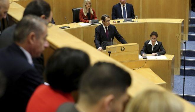 Ο Νίκος Αναστασιάδης μιλά στο Κοινοβούλιο στη Λευκωσία, Αρχείο