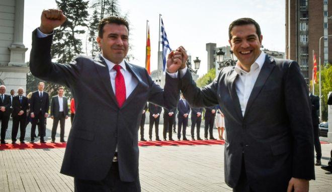 Υποδοχή του Πρωθυπουργού, Αλέξη Τσίπρα απο τον Πρωθυπουργό της Βόρειας Μακεδονίας Ζόραν Ζάεφ στο Κυβερνητικό Μέγαρο