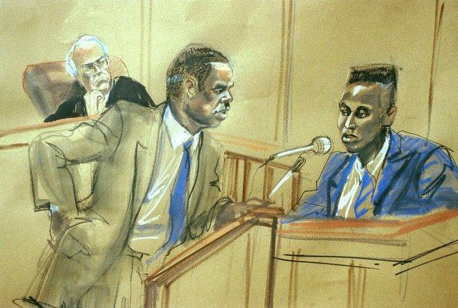 Ο Γιουσέφ Σαλάμ απαντά στις ερωτήσεις του δικηγόρου του Ρόμπερτ Μπαρνς, υπό το βλέμμα του δικαστή Τόμας Γκάλιγκαν (AP Photo/Marilyn Church)