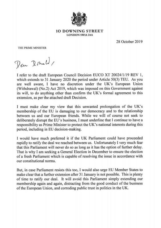 Η επιστολή του Βρετανού πρωθυπουργού Μπόρις Τζόνσον στον πρόεδρο του Ευρωπαϊκού Συμβουλίου Ντόναλντ Τουσκ με την οποία αποδέχεται την παράταση στο Brexit