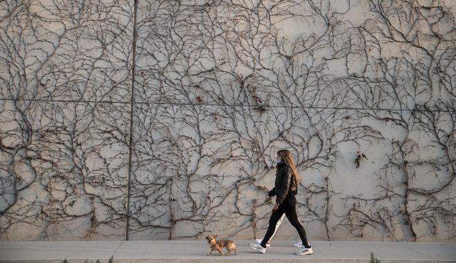Γυναίκα βγάζει βόλτα τον σκύλο της εν μέσω Lockdown