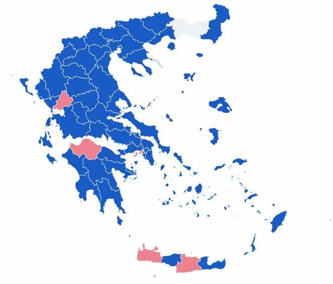 Αποτελέσματα εκλογών 2019: Ο χάρτης της Ελλάδας στο 22.05% της ενσωμάτωσης