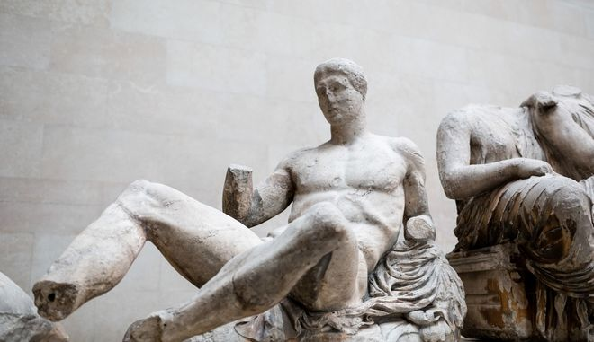 Part of the East Pediment of Parthenon. British Museum, London, UK on Feb. 28, 2014. /          , ,    28  2014.