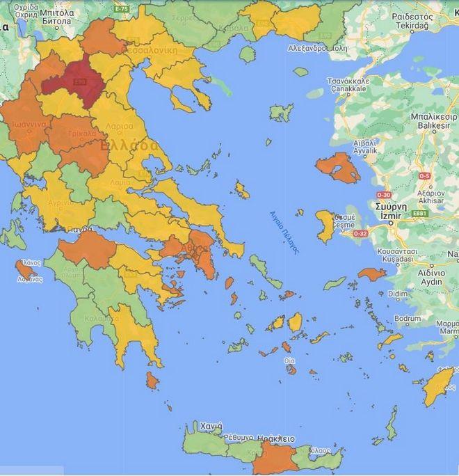 Κορονοϊός: Πώς διαμορφώνεται ο χάρτης - Ποιες περιοχές είναι