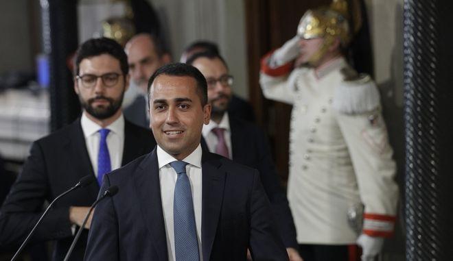 Ο ηγέτης του Κινήματος 5 Αστέρων Λουίτζι Ντι Μάιο στο προεδρικό μέγαρο στη Ρώμη