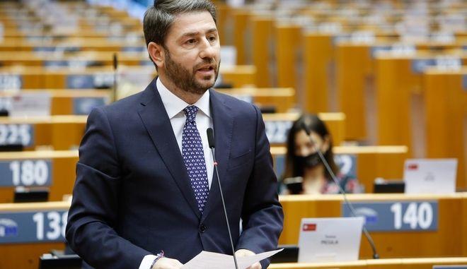Ο Νίκος Ανδρουλάκης στη συνεδρίαση του Ευρωπαϊκού Κοινοβουλίου για την επίσκεψη του προέδρου της Τουρκίας Τ. Ερντογάν στα Βαρώσια, την Τρίτη 24 Νοεμβρίου 2020, στις Βρυξέλλες.