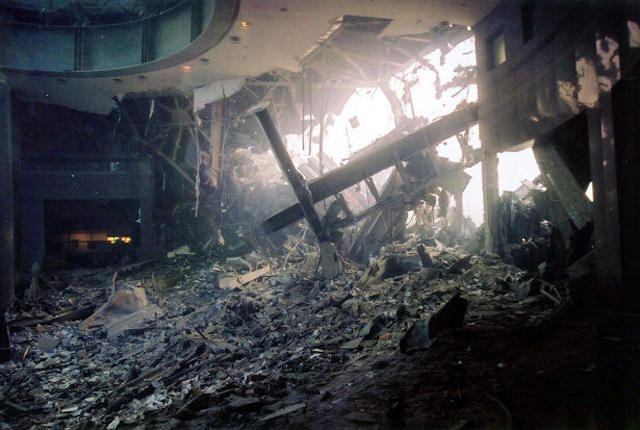 Destruction to the Winter Garden atrium in the World Financial Center, across the street from the twin towers of New York's World Trade Center, is seen after a terrorist attack on the twin towers in lower Manhattan, Tuesday, Sept. 11, 2001. (AP Photo/Alex Fuchs)   Original Filename: TERRORIST_ATTACKS_NYR175.jpg