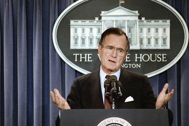 Ως πρόεδρος των ΗΠΑ, κατά τη διάρκεια ενημέρωσης συντακτών στο Λευκό Οίκο στις 27 Ιανουαρίου του 1989