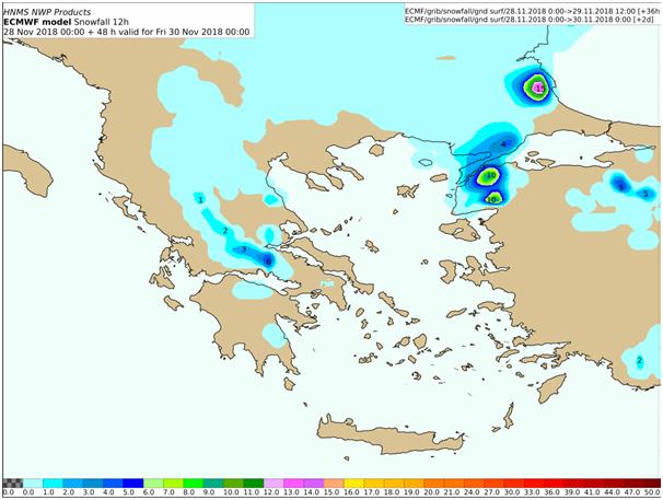 Προβλεπόμενα ύψη χιονιού από Πέμπτη 12:00 έως Παρασκευή 00:00 UTC